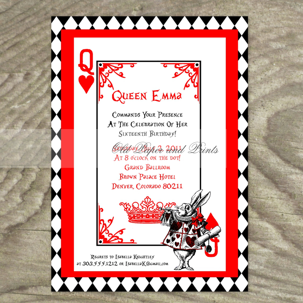 Alice In Wonderland White Rabbit Playing Card Party Invitation on – Playing Card Invitation